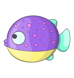 Purple dotted fish icon cartoon style vector image