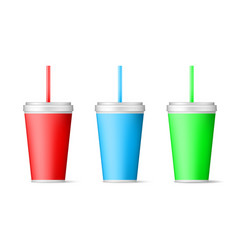 realistic color papers cup with straw isolated on vector image