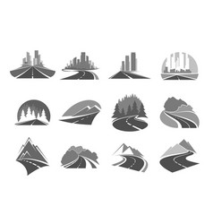 Road highway icons city forest and mountains vector
