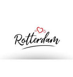 Rotterdam europe european city name love heart vector