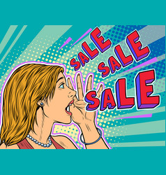 sale pop art woman announcement vector image