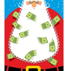 Santa Claus Beard money Christmas wealth New years vector image