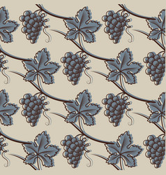 seamless pattern of grape in blue vector image