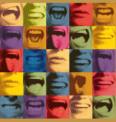Seamless pattern with human mouths and lips vector