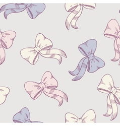 Seamless pattern with sketched bows in pastel vector image