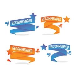 Set banner for recommended product with star vector