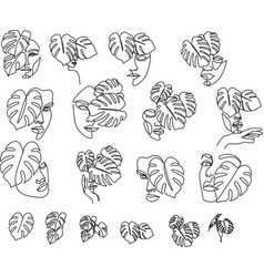 set beauty woman face with monstera leaves one vector image