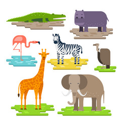 Set of african animals on the pieces of land vector