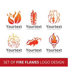set of fire flame logo vector image