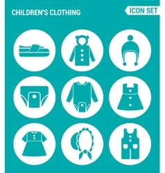 Set of round icons white Children s clothing vector
