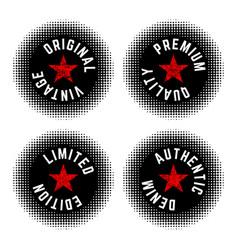 set vintage halftone texture round stamp vector image