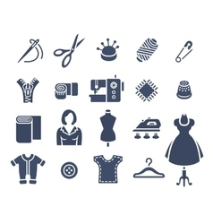 Sewing tools flat silhouette icons vector