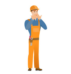 Shoked caucasian builder covering his mouth vector
