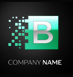 silver letter b logo symbol in the green square vector image