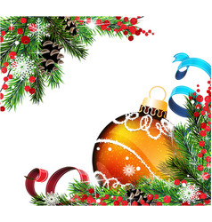 spruce branches and orange christmas ball vector image