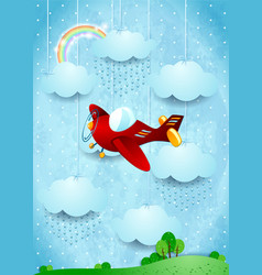 Surreal landscape with airplane and rain vector