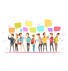 Teenage boys online cartoon poster vector