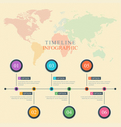 timeline infographic world map vector image
