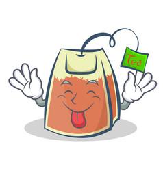 Tongue out tea bag character cartoon art vector