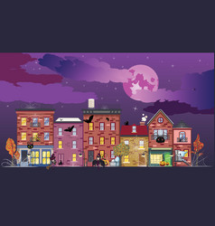 town at halloween night vector image