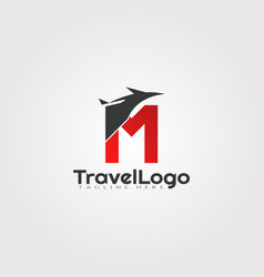 Travel agent logo design with initials m letter vector