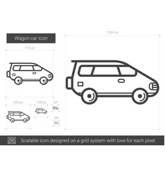Wagon car line icon vector