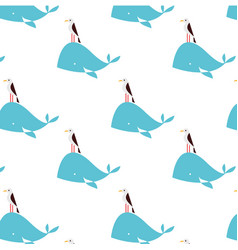 whale animal flat pattern on white vector image