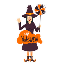 witch and candy vector image