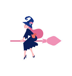 Witch in dark dress and hat flying on broomstick vector