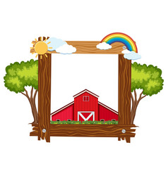 Wooden frame template with red barn vector