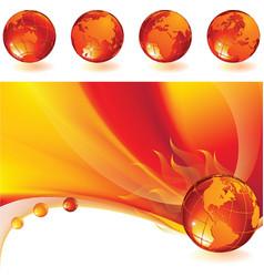 burning globe vector image vector image