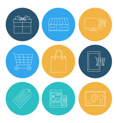 flat lines shopping icons ecommerce elements vector image