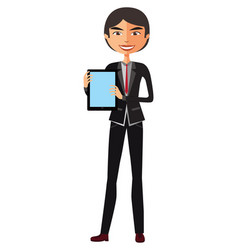happy asian businessman with tablet vector image