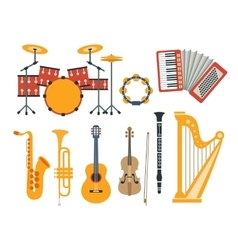 Music Instruments Realistic Drawings Collection vector image