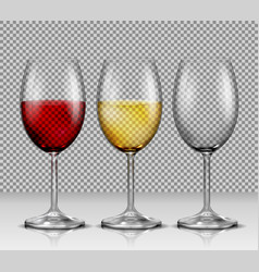 set transparent wine glasses empty with vector image vector image