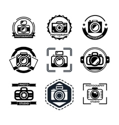 Vintage photography badges or logos vector image vector image