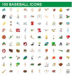 100 baseball icons set cartoon style vector image