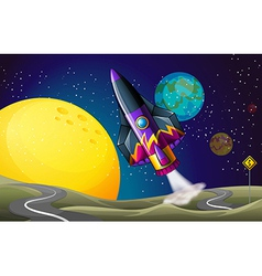 A colorful aircraft near the moon vector image