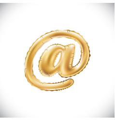 balloon mail symbol realistic 3d isolated gold vector image vector image
