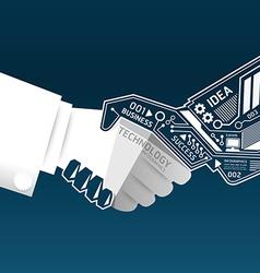 Creative handshake abstract circuit technology vector image