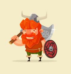 happy smiling friendly viking man character mascot vector image vector image