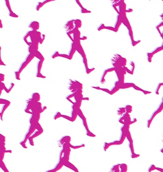 Runners realistic silhouettes seamless vector image