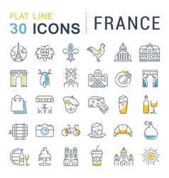 Set Flat Line Icons France and Paris vector image
