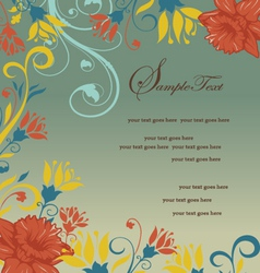 vintage orange floral invitation card vector image vector image