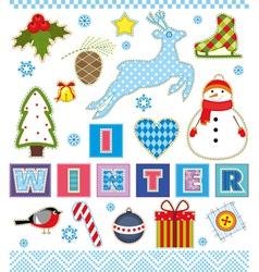Winter Set Textile Element vector image vector image