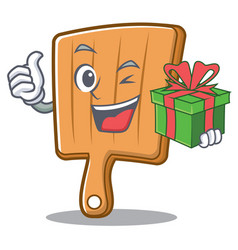 with gift kitchen board character cartoon vector image vector image