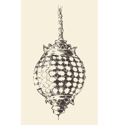 Arabian lantern ramadan drawn vector