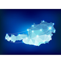 Austria country map polygonal with spot lights vector image