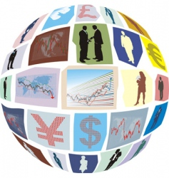 business clippings glued to sphere vector image