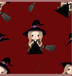 halloween background - witch girl on bloom vector image
